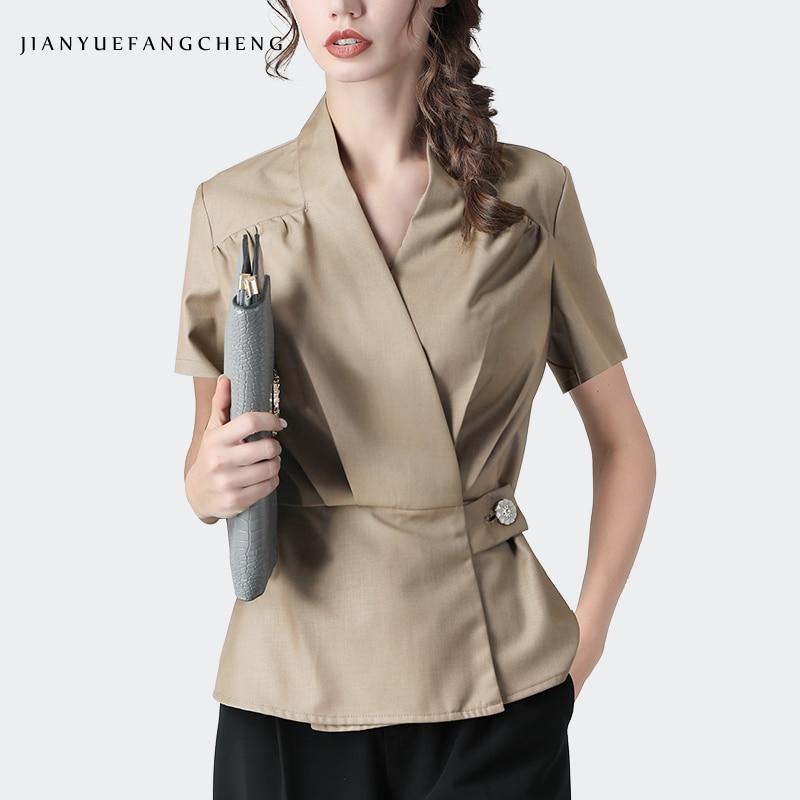 المرأة الصيف قصيرة الأكمام الكاكي القطن قميص الخامس الرقبة زر واحد سترة تونك أنيقة ضئيلة مكتب السيدات البلوزات