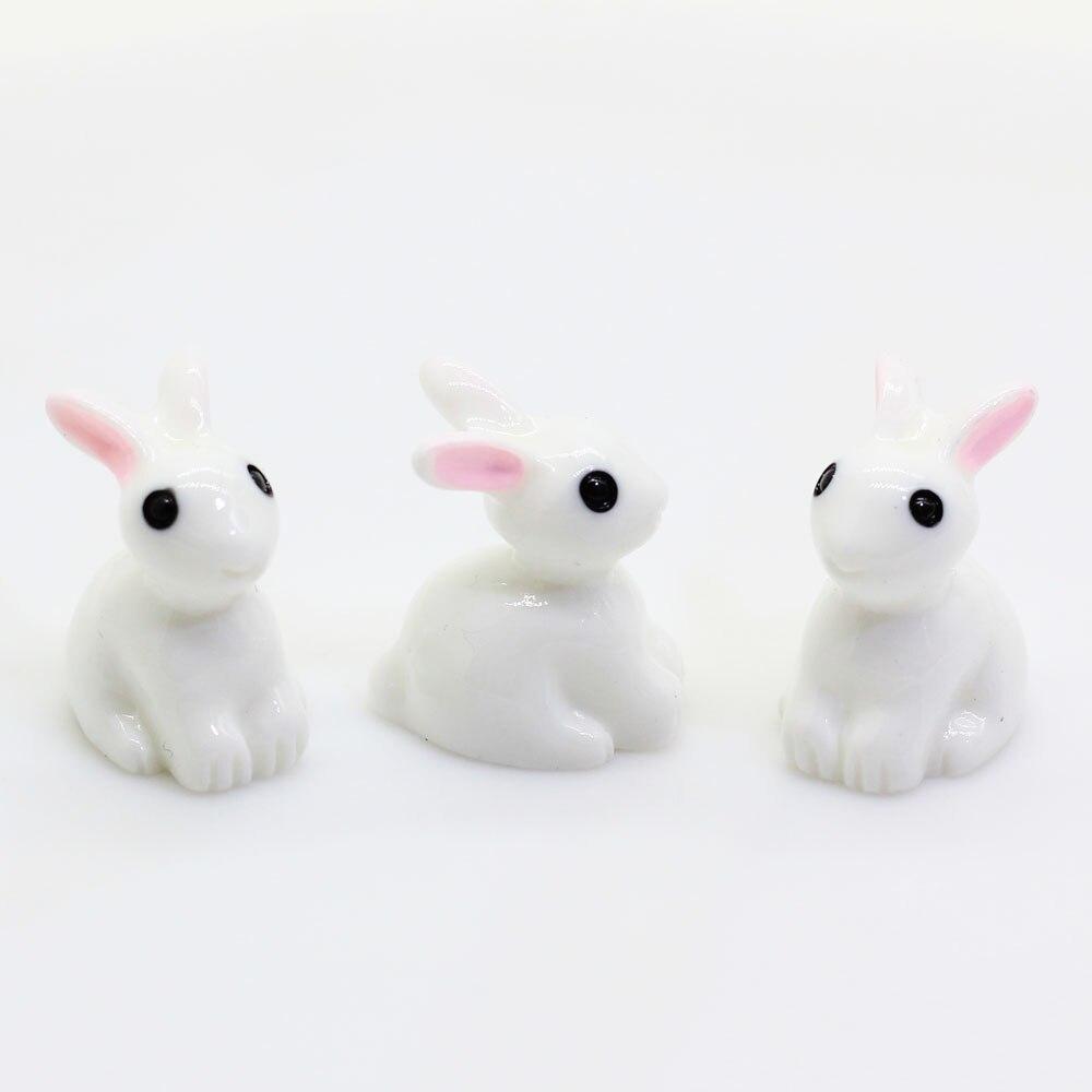 10/100pc 3D Mini Kaninchen Tier Miniatur Fee Garten Dekoration Puppe Haus Terrarium Dekor Ornament Spielzeug Micro Landschaft ornam