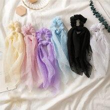 Moda jednolity kolor Seersucker akcesoria do włosów dla kobiet elastyczna opaska do włosów wstążka wiązana guma kucyk Holder długi szalik Scrunchie