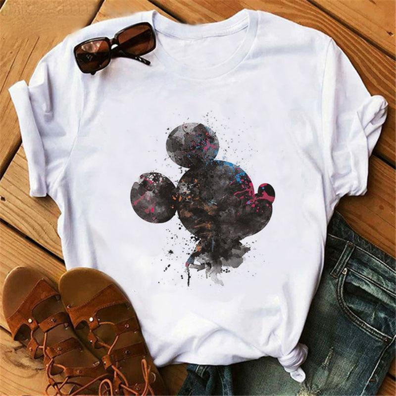 Harajuku, Camiseta con estampado de dibujos animados de ratón, camiseta gráfica a la moda para mujer, camisetas lindas de manga corta con cuello redondo, ropa para mujer de Mickey
