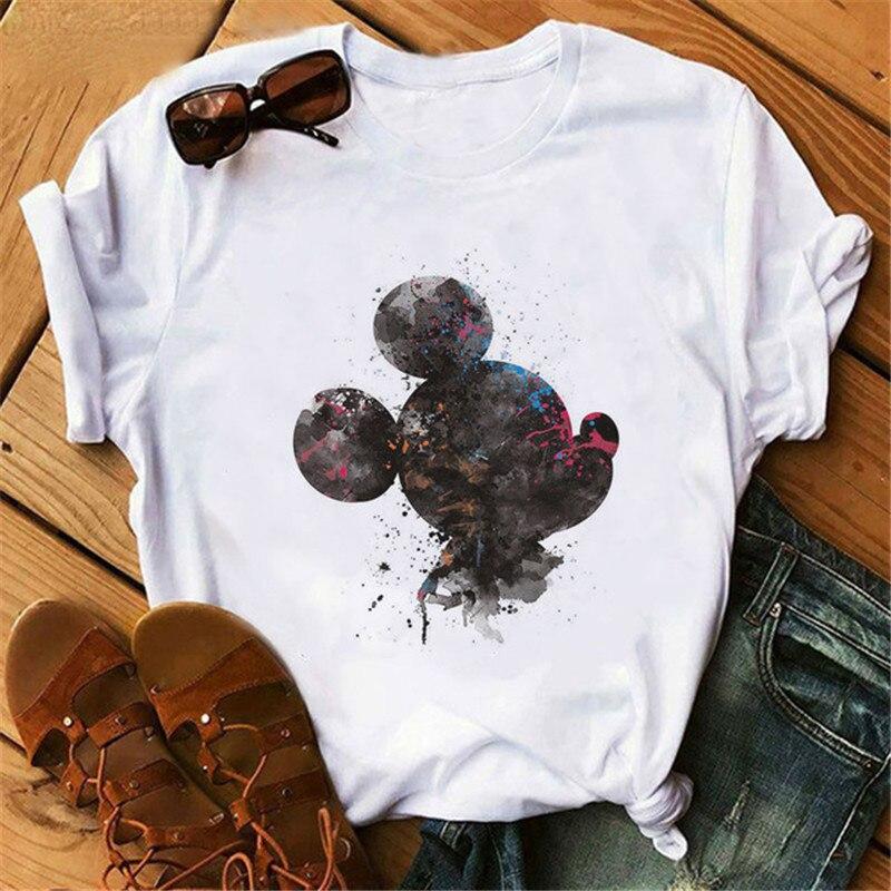 Harajuku Mouse Cartoon Printing T-shirt Women's Fashion Graphic T shirt O-neck Short-sleeved Cute Shirts Women Clothing Mickey