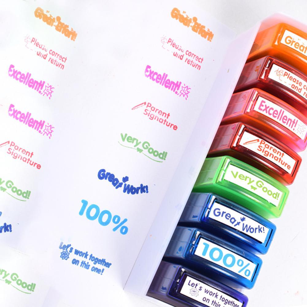 Crianças selo de brinquedo 8 pçs colorido selo professor conjunto escola classificação selos para HN-PP103 selo de brinquedo para crianças presente natal
