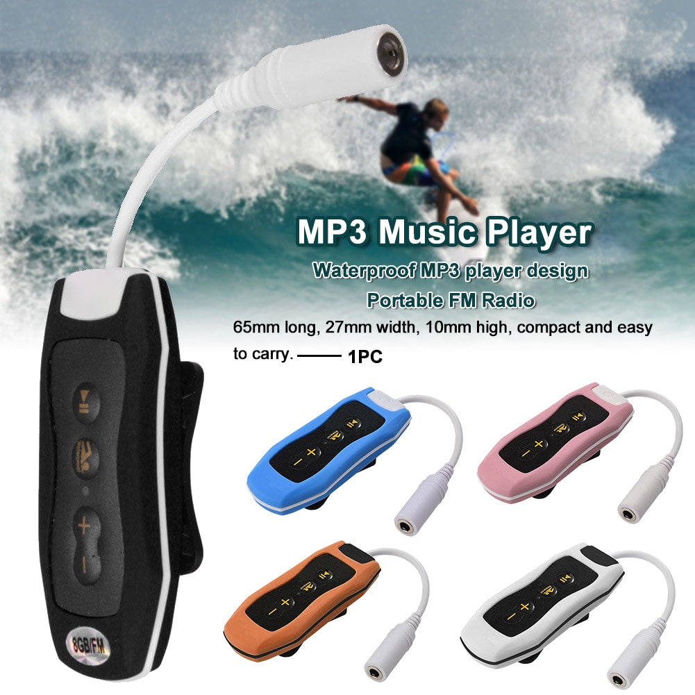 IPX8 водонепроницаемый с кабелем fm-радио ручной плавательный MP3 музыкальный плеер для дайвинга
