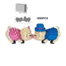Belles figurines de dessin animé briques de construction animaux cochon micro diamant bloc baiser cochon nanobriques jouets éducatifs pour enfants cadeaux