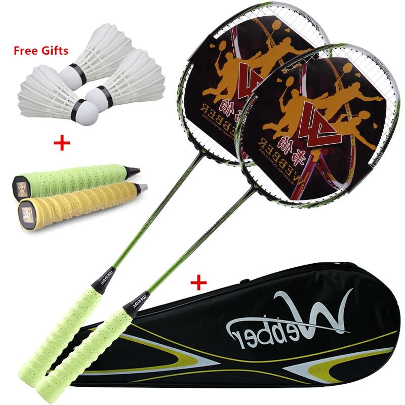 Профессиональный ультра-светильник, ракетки для бадминтона из углерода, эластичная и долговечная ракетка для 18-24 фунтов, низкий/средний фун...