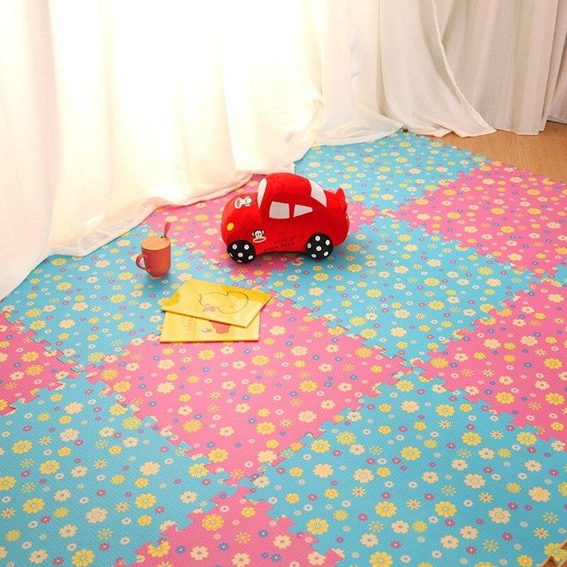 Los últimos 9/18 unids/set de EVA alfombra de espuma para niños suelo de girasol puzle alfombra para juego de bebé suelo desplegable carpe para gatear