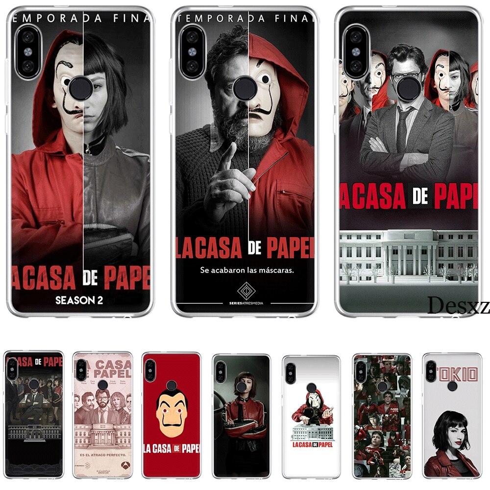 Caixa Do Telefone móvel Tpu Para Xiaomi Redmi Nota 4 4X5 5A 6 7 Pro Dinheiro Cobertura Casa de Assalto de Papel