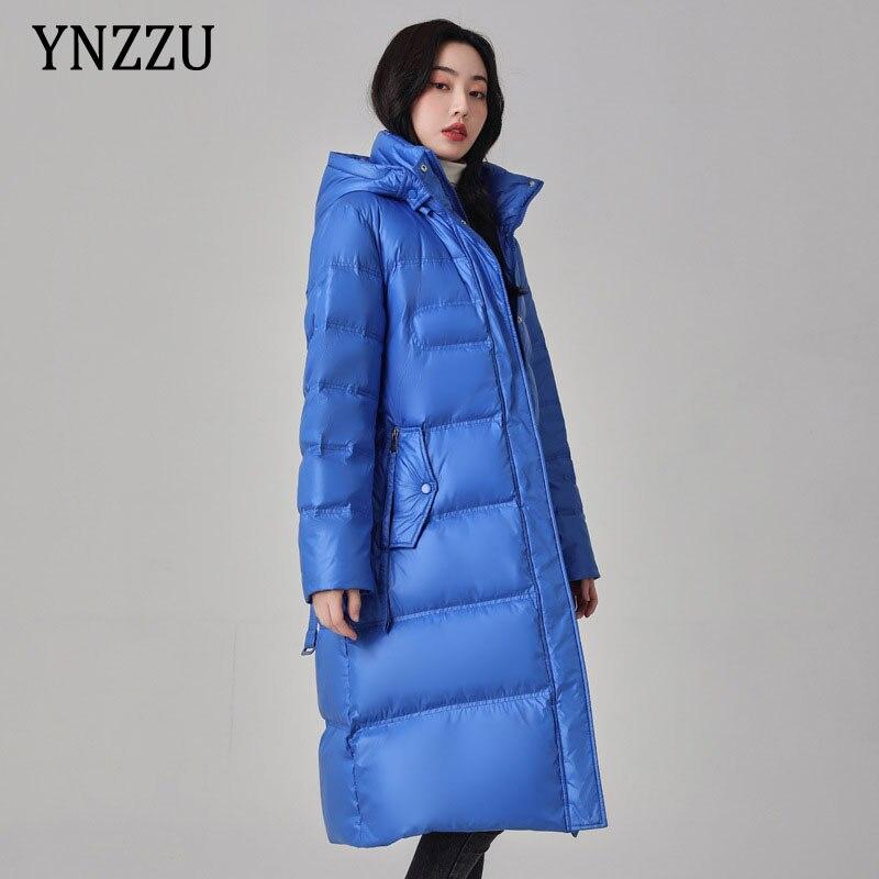 2021 الشتاء سميكة الدافئة المرأة أسفل سترة مع حزام أنيقة مقنعين الوقوف طوق السيدات معطف طويل معطف فضفاض الصلبة YNZZU 1O203