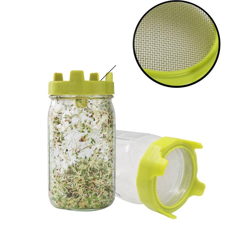 Tapa de brotes con criba de acero inoxidable para frasco de boca ancha, enrutador de semillas, filtro de germinación, herramientas de brotes, herramientas de germinación