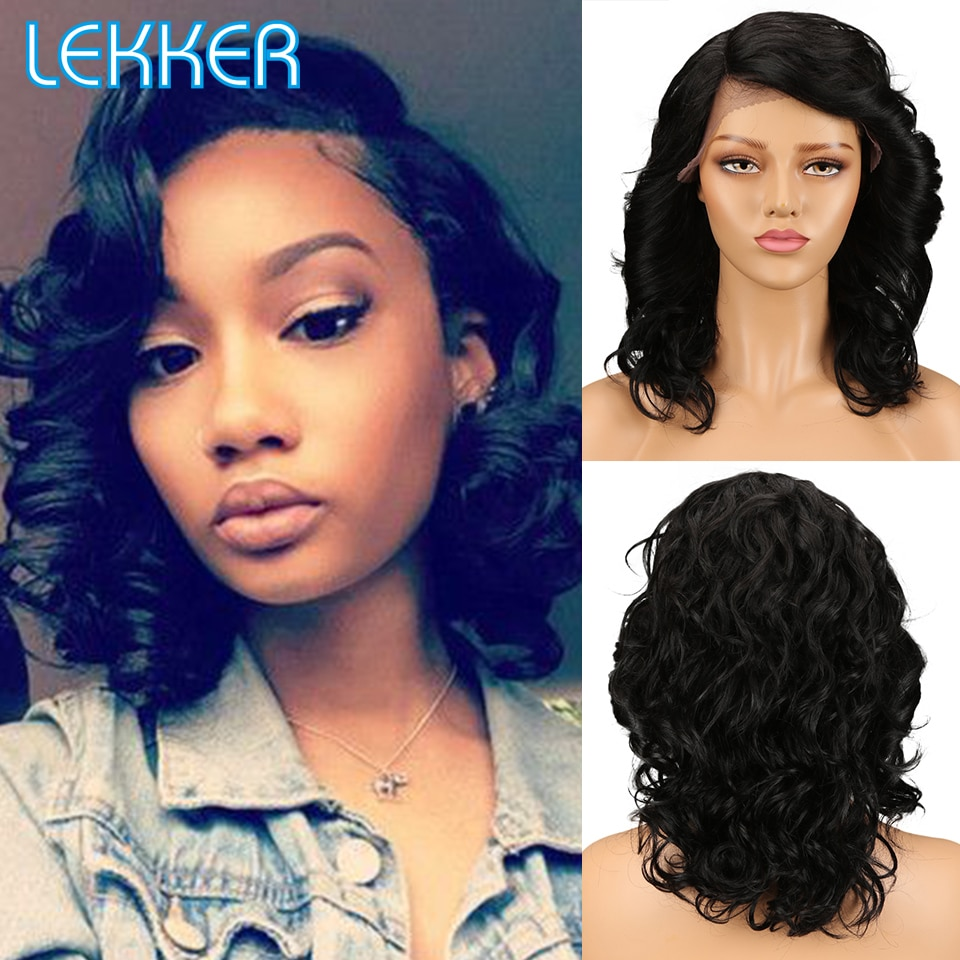 Lekker Lace Part Human Hair Bouncy Curly Wigs With Dark Roots For Women Ombre Blonde Remy Loose Wave Shoulder Length Natural Wig