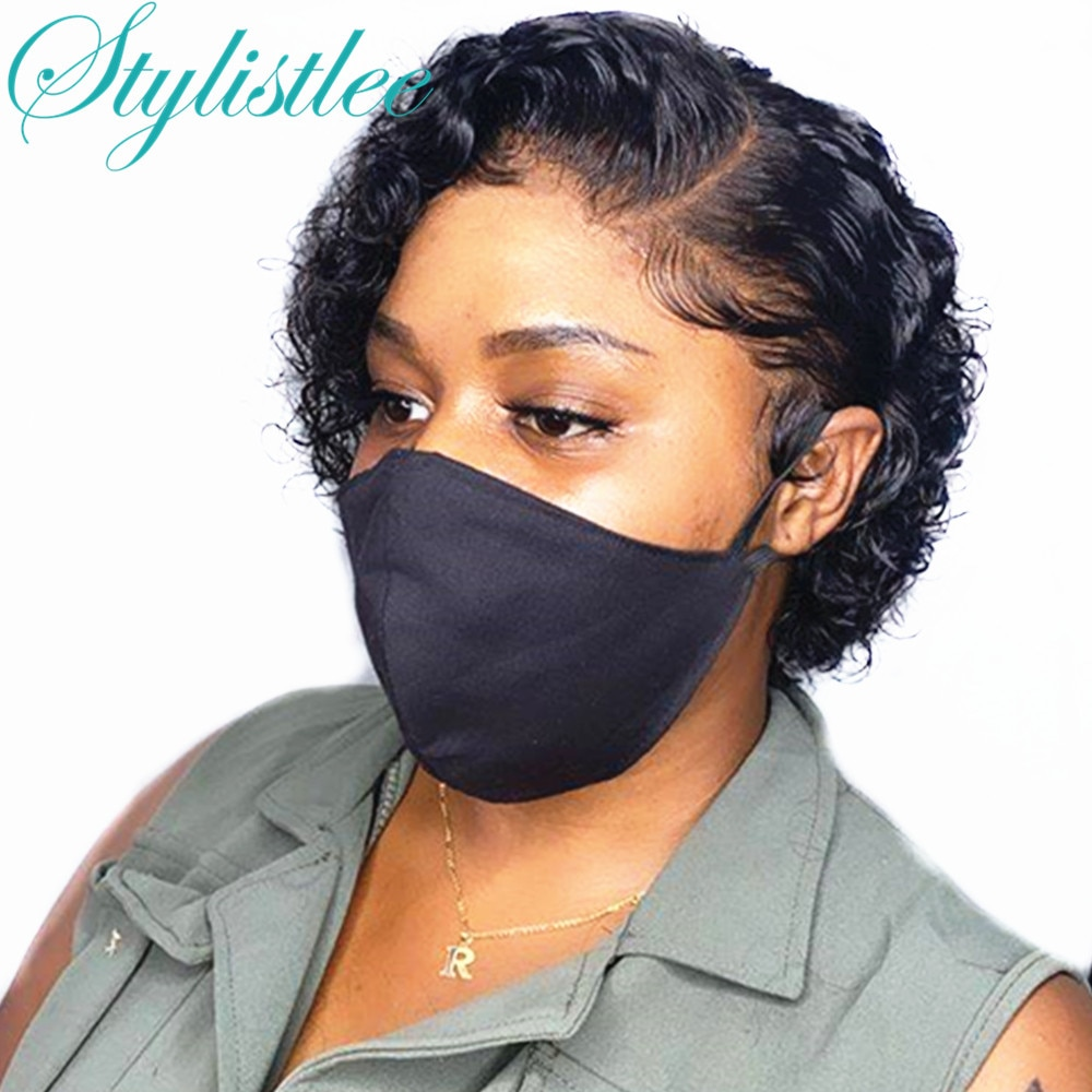 """Stylistlee Pixie Cut Short Curly Bob Wig 13x4 Lace Front T Part Human Hair Wigs 100% Human Hair Pre Plucked Hair Wigs 8""""Inch"""