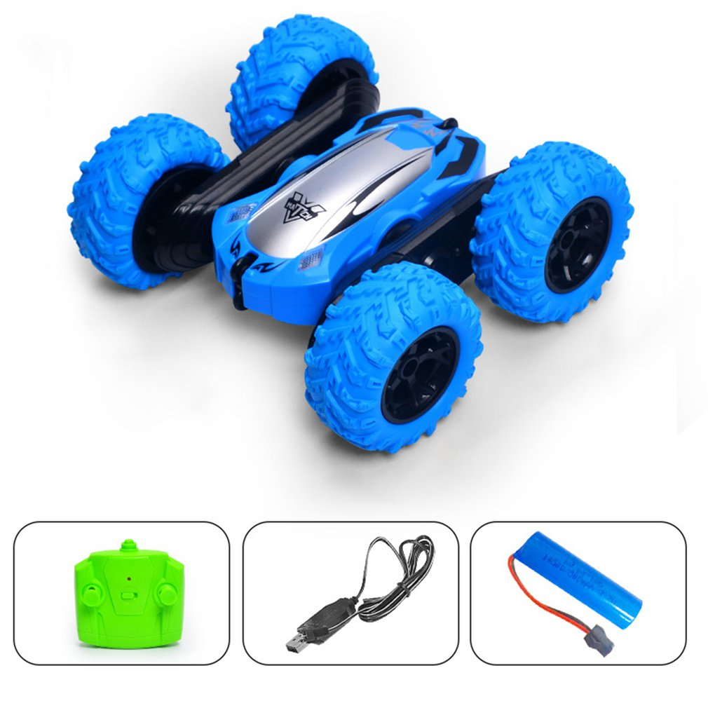 2.4G remote control double-sided tumbling stunt tipping stunt car HS blue