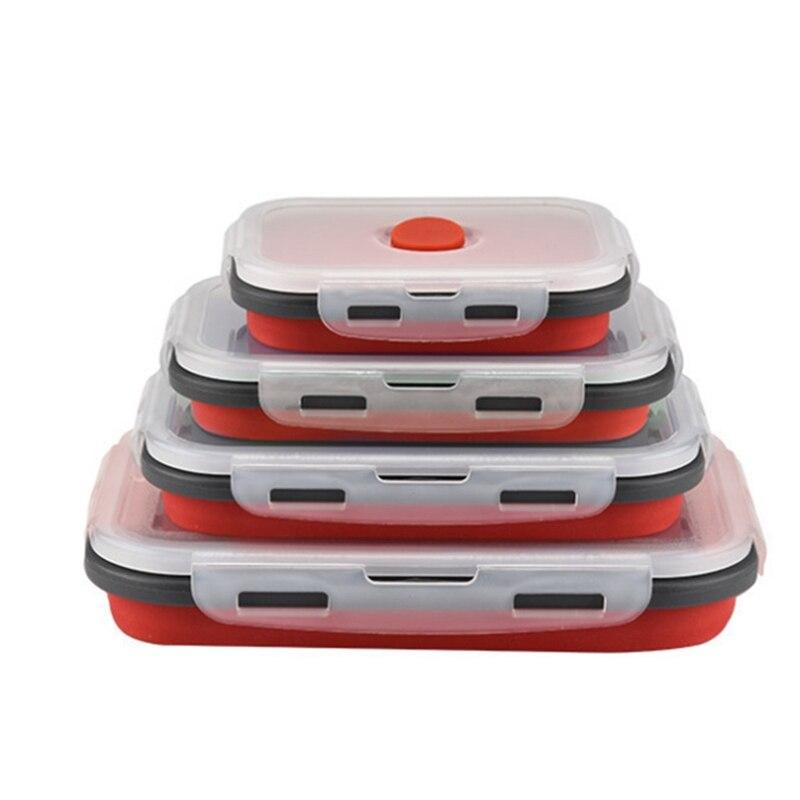 صندوق غداء سيليكون قابل للطي ، 4 قطع ، آمن للاستخدام في الميكروويف ، أحمر