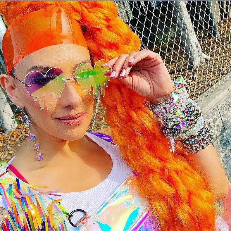 Новая мода плавит Love Солнцезащитные очки для женщин в европейском и американском стиле личность любовь слезы солнцезащитные очки оптом