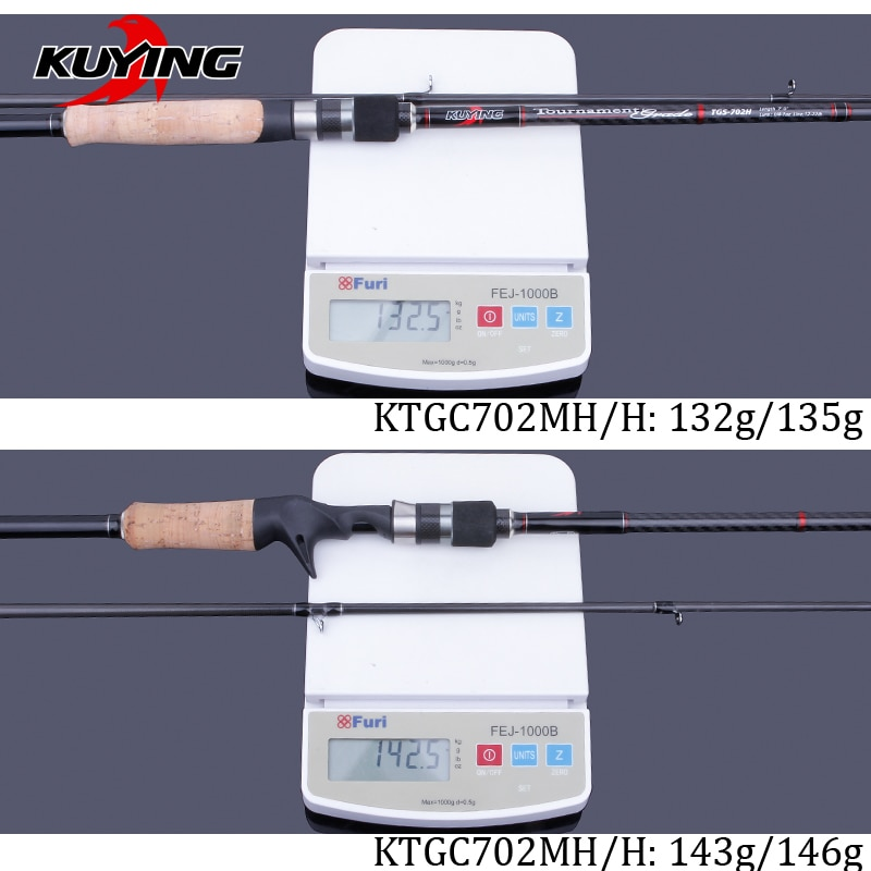 KUYING 2.1m Tournament Double Tips MH H Hard Casting Spinning Lure Fishing Rod Carbon Fiber Cane Pole Stick Medium Fast 7-28g enlarge