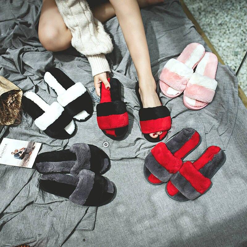Zapatillas de piel para el hogar, zapatillas de piel, chanclas de felpa, zapatillas de mujer, chaissures femme