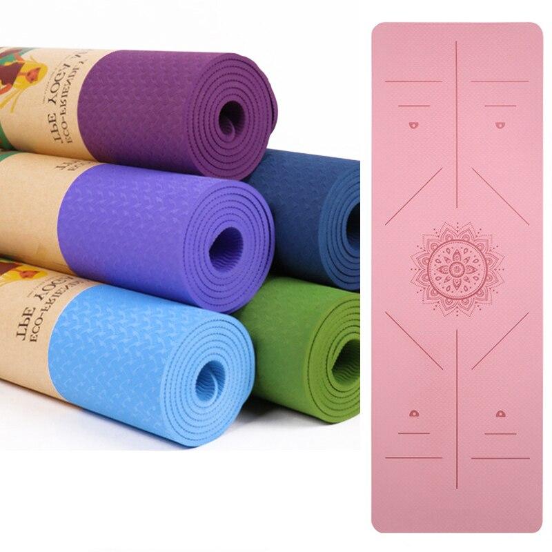 Updated 6mm Yoga Mat 183*61cm TPE Yoga Mats Position Line and Grid Non Slip Mat Yoga Beginner Fitness Exercise Mat недорого