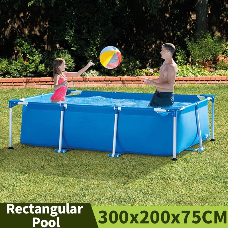 300x200x75 سنتيمتر المنزلية مستطيلة بركة في الهواء الطلق حديقة سماكة الأطفال حمام سباحة مع الإطار المعدني دون مضخة مرشح