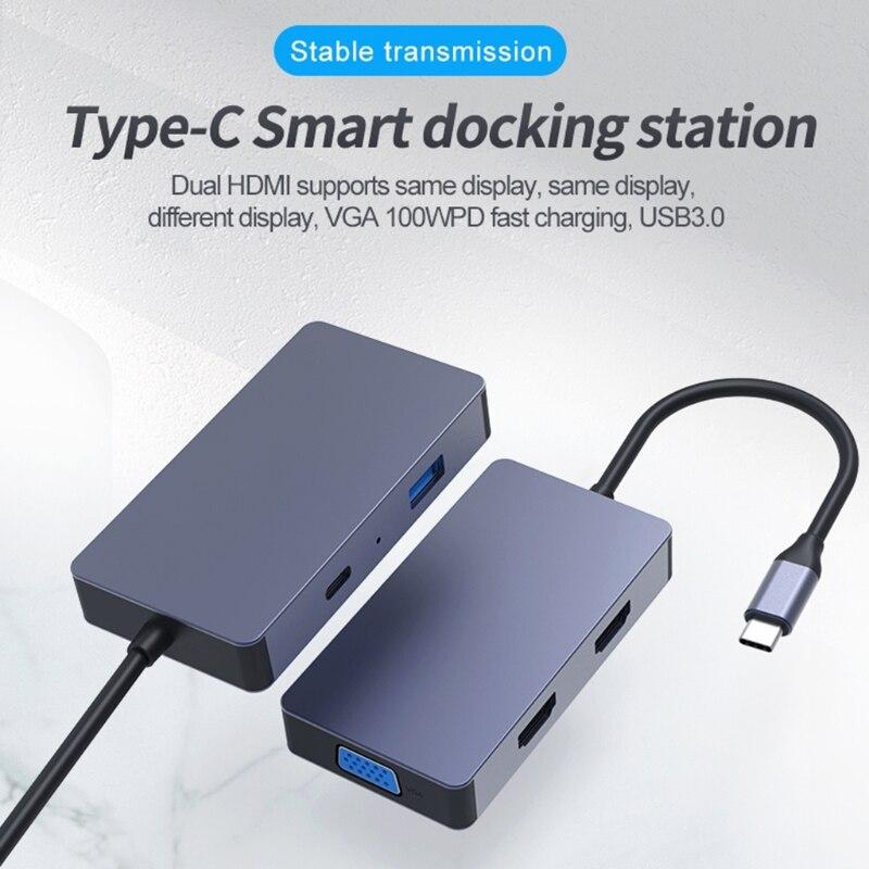 M68F Blueendless رائجة البيع USB مهايئ توزيع 5 في 1 المزدوج HDMI متوافق 4K محطة إرساء HDD SSD VGA PD100W الشحن السريع