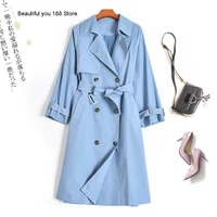 autumn new special price single lace up slim long trench coat coat