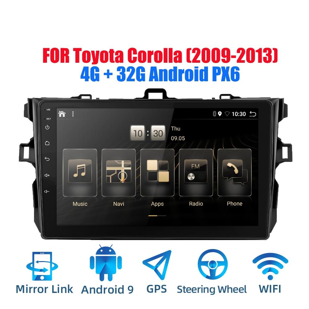 2din Android 9,0 Ouad Core PX6 auto Radio estéreo para Toyota Corolla 2009-2013 GPS Navi reproductor de Video de Audio Wifi BT HDMI DAB +