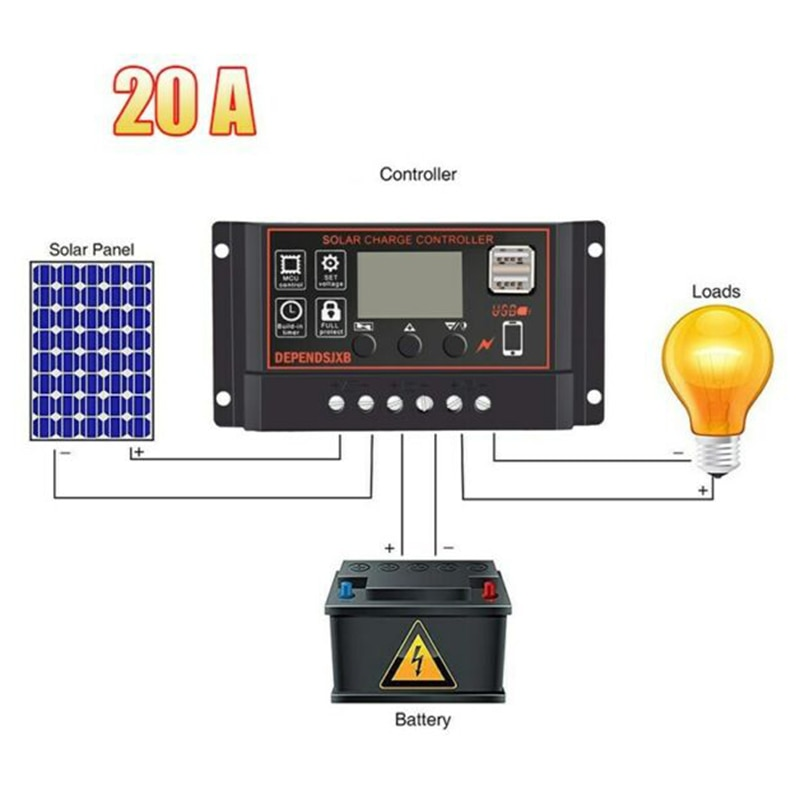 LCD Screen Solar Charger Controller USB Output Overload Protection Low Heat Generation Panel Regulator Accessories