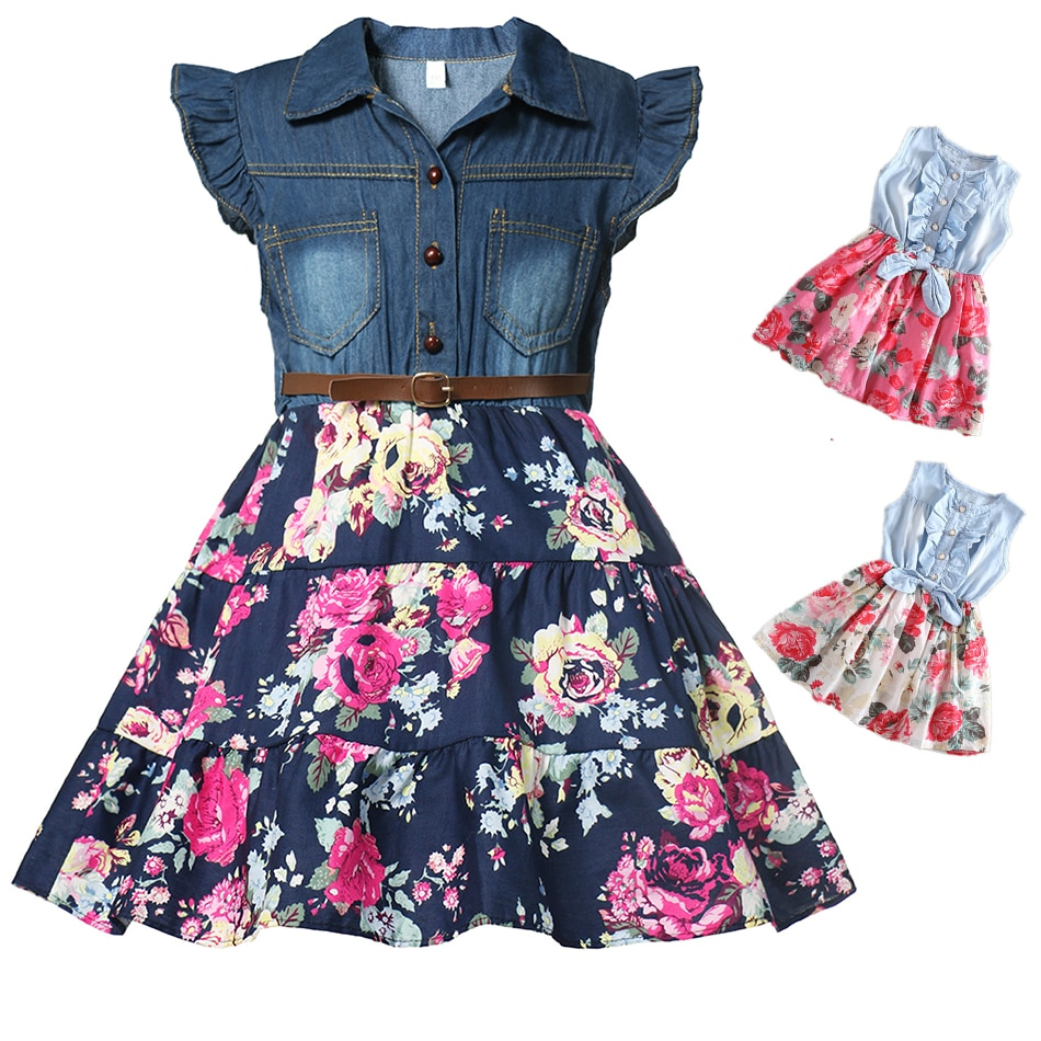 Girls Denim Floral Dress Summer Party Dress with Belt Children Flying Short Sleeve Casual Clothing Baby Girl Kids Fashion Outfit
