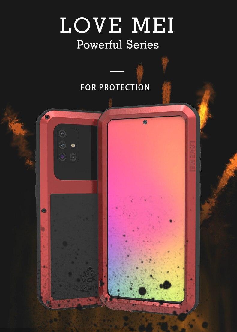 LOVE MEI-غلاف هاتف خلوي معدني مقاوم للصدمات والأوساخ لهاتف Samsung Galaxy S20 Ultra A70 A50 A30 A21 A41 A51 Note 10 Lite 20
