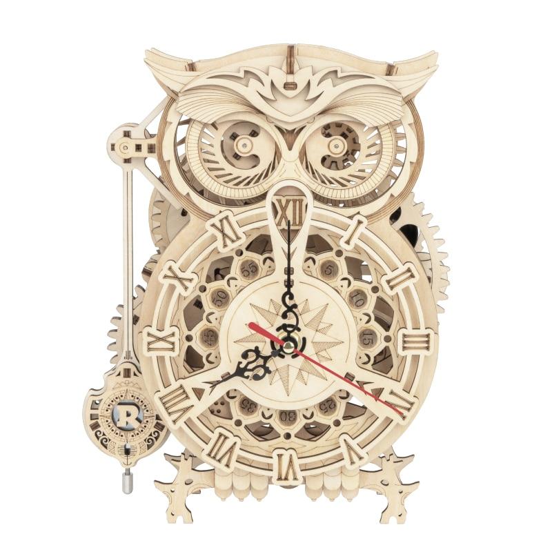 Robotime ROKR 3D Wooden Puzzle Owl Clock Model Building Kit Toys for Children Kids Boys LK503