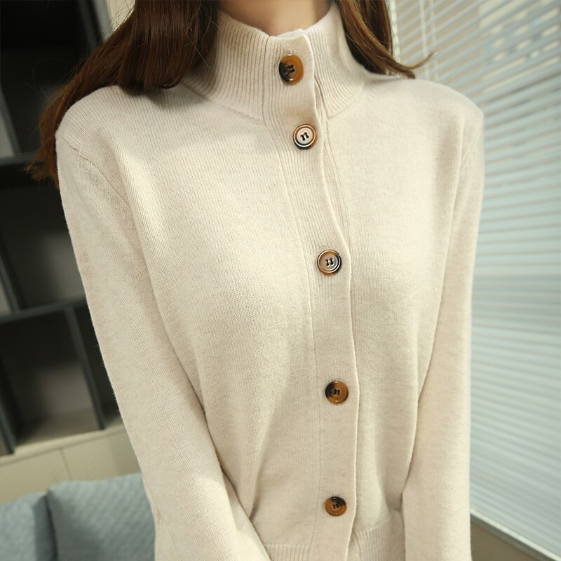 Spring New Turtleneck cardigan Jackets Women 100% Wool Knitted Long Sleeve Cardigans Woolen Jackets Woman Standard Clothes enlarge
