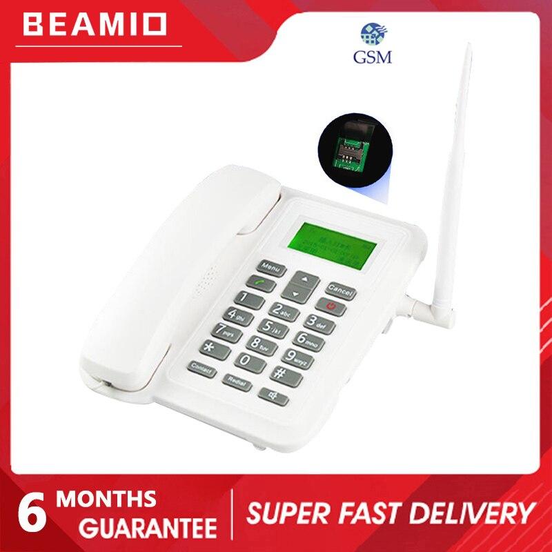 Beamio هاتف لاسلكي أرضي GSM مع بطاقة SIM راديو لاسلكي شاشة هاتف أل سي دي للمنزل مكتب سطح المكتب أبيض
