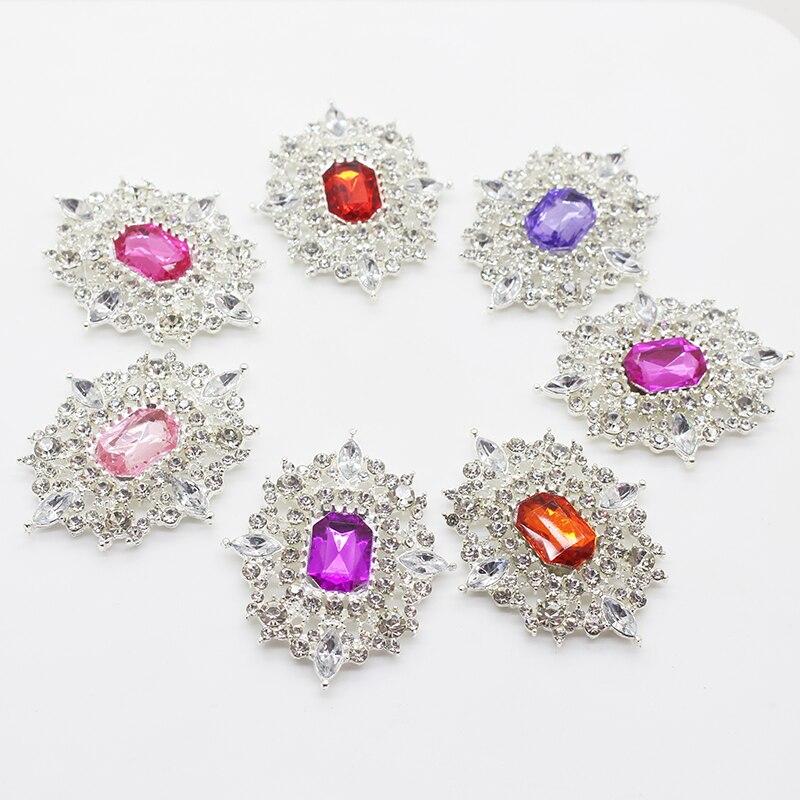 Conjunto de 2 unidades de 38mm x 48mm, coloridos botones de estrás de diamante, reverso plano, cristal para boda, ramo de niños, cinta decorativa para el pelo