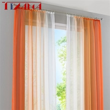 2 panneau fini rideau Orange dégradé Tulle rideau pour salon chambre cuisine court rideau café rideau D002 #42 volet