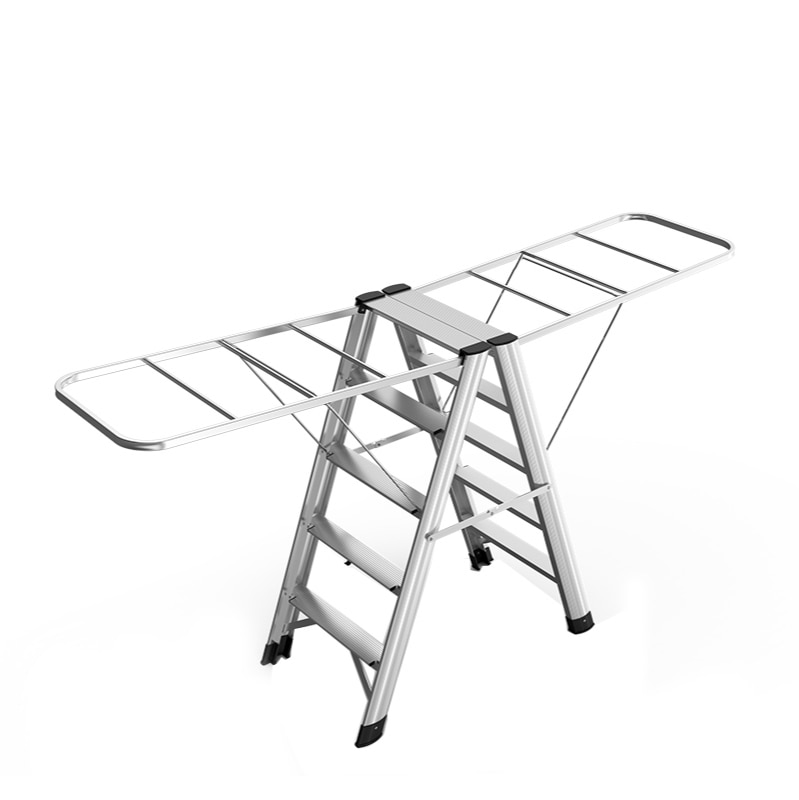 Aluminum alloy ladder drying rack dual-use household folding multifunctional herringbone ladder thickening quilt stair stool