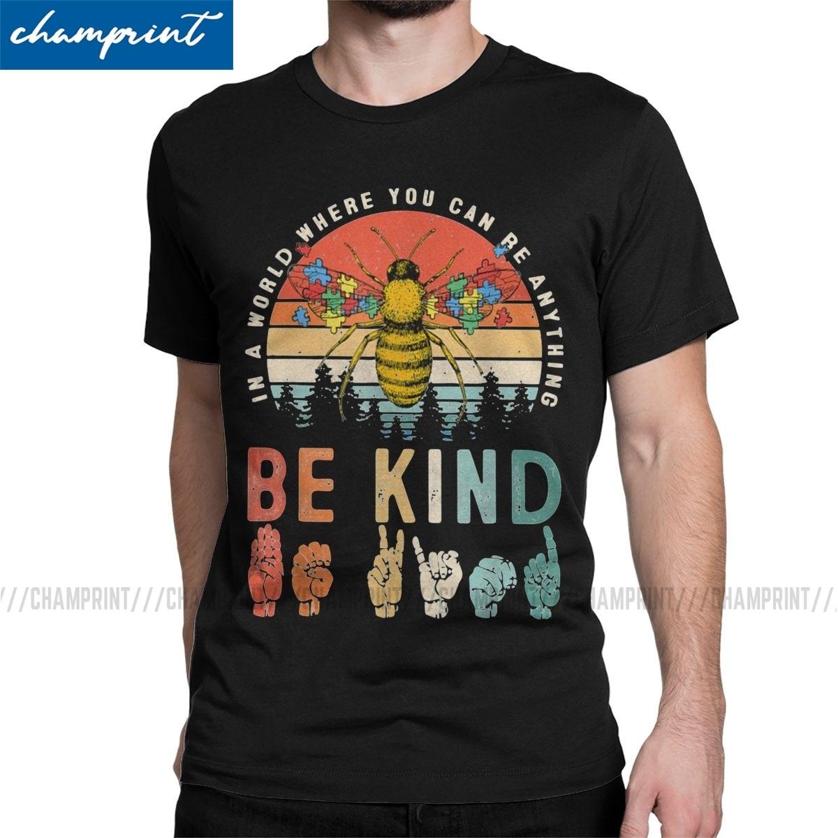 En un mundo en el que puede ser cualquier cosa ser amable abeja Autismo camisetas hombres Autismo concientización camiseta retro 6XL Tops