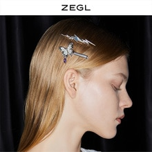 Zegl Designer Shell Lightning Barrettes Female Back Head Clip Simple Temperamental All-Match Hairpin