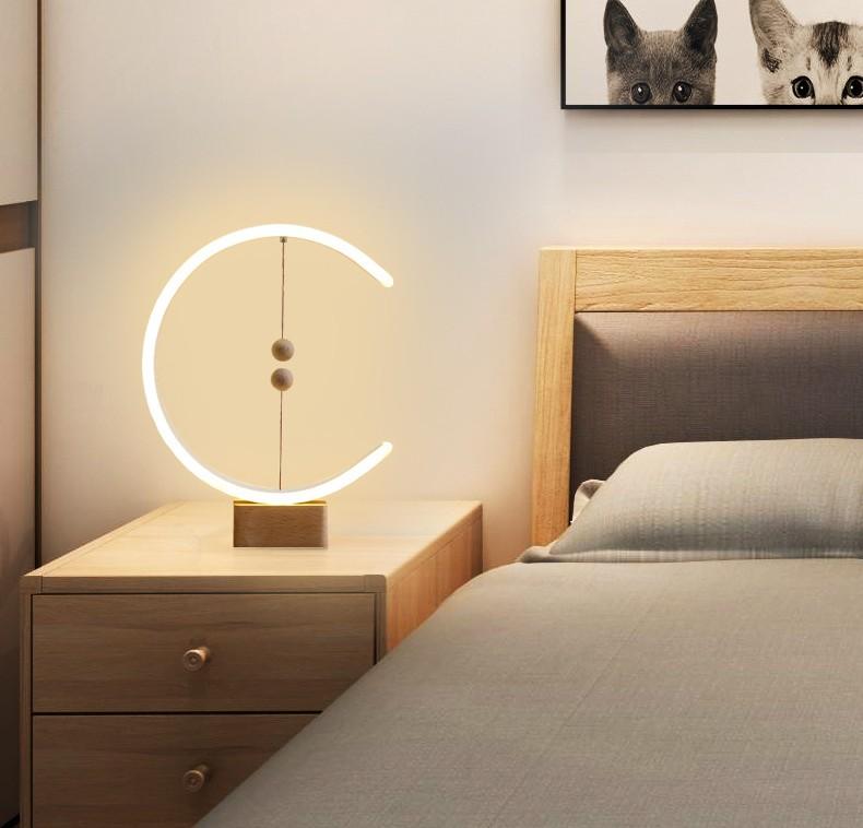 Smart magnetic levitation balance lamp creative LED night lamp table lamp fun birthday gift modern family dormitory bedside wood enlarge