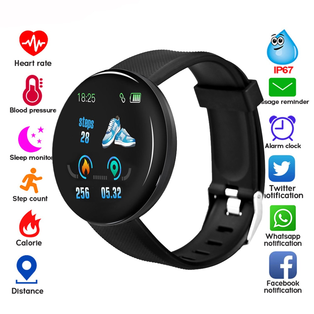 2020 New Smart Watch D18 Men Women automatic watch Round Bluetooth Intelligent clock  Waterproof Sport Tracker Android Ios Z2