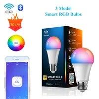 Ampoule intelligente 9W  lampe US RGB Dimmable E26  synchronisation  controleur WiFi Bluetooth 3 modeles de commande sans fil  application Alexa Google Home Siri