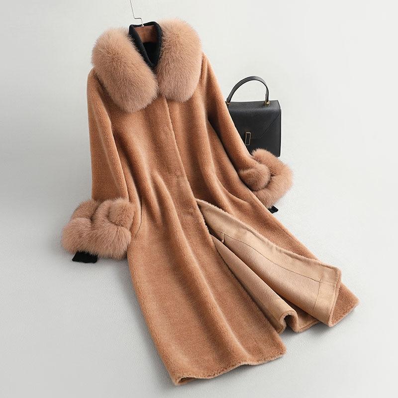 2020 new real Granule sheep shearing composite fur women's new coat hooded long cashmere coat fox fur hat C10-2