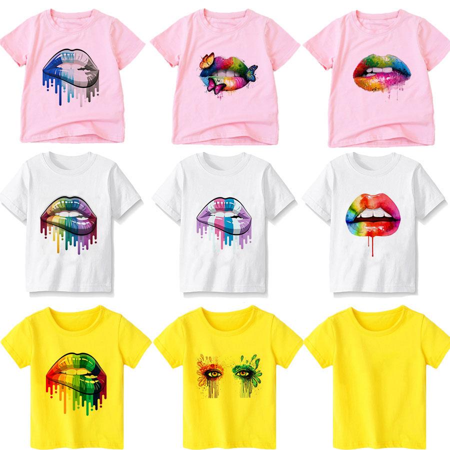 Neu Hinzugefügt Geburtstag T-shirt Vogue Jungen T Shirt Nette Kinder Top Sexy Farbe Lip Gloss Gedruckt Mädchen Kleidung 2020 2 3 4 5 6 7 8 9 jahre
