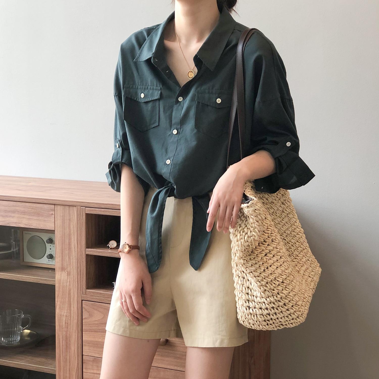 CMAZ  Women Loose Shirts Summer Elegant Half Sleeve Simply Single Breasted Fashion Blouses Female Sh
