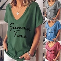 summer casual v neck solid color t shirt letter printed plus size women short sleeve tops