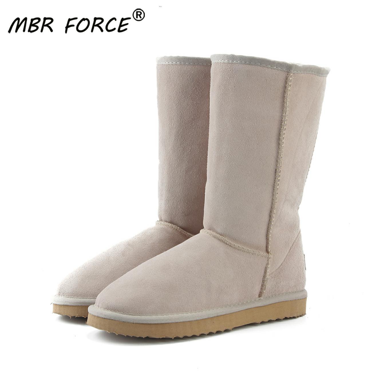 Mbr força clássico couro genuíno botas de neve de pele das mulheres de alta qualidade austrália botas botas de inverno para as mulheres joelho quente sapatos altos