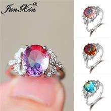 Anéis de casamento de cristal de fogo místico oval para as mulheres ouro branco rosa verde azul pedra libélula anel de noivado banda jóias