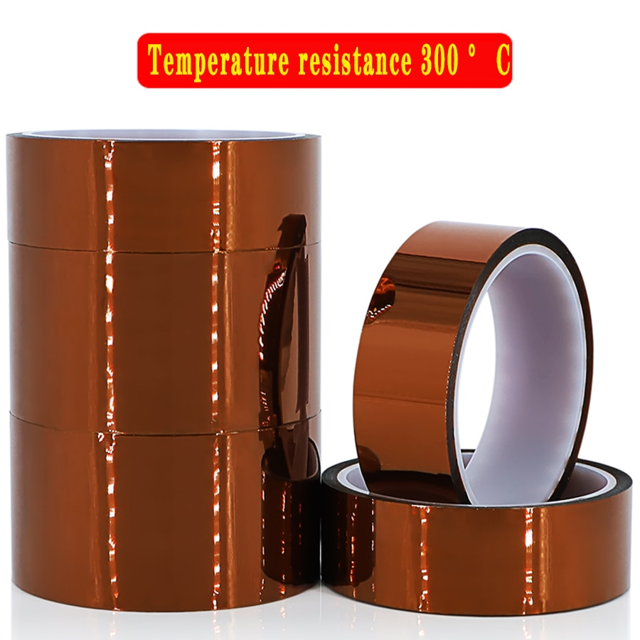 1pcs 33m heat resistant polyimide tape high temperature adhesive insulation tape for bga electronic repair pcb smt 3/5/8/10/12/15/18/20mm 33m 100ft Kapton Adhesive Tape BGA High Temperature Heat Resistant Polyimide Gold for Electronic Industry