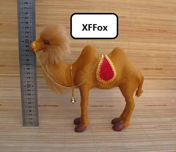 Modelo de camel de simulación media polietileno y pieles de la vida real camel doll gift 25x7x22cm xf2229