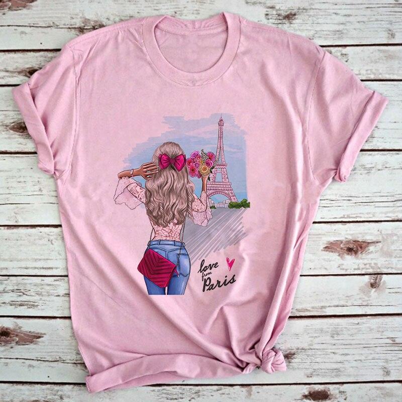 CZCCWD Frauen Kleidung 2019 Sommer Mode Dünne Abschnitt T Hemd Liebe Grom Paris Harajuku Kawaii Weibliche T-shirt Freizeit T-shirt Top