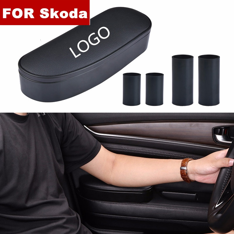 3 en 1 boîte de rangement réglable voiture coude Support main gauche accoudoir Support Anti-fatigue pour Skoda logo Octavia Kodiaq Karoq