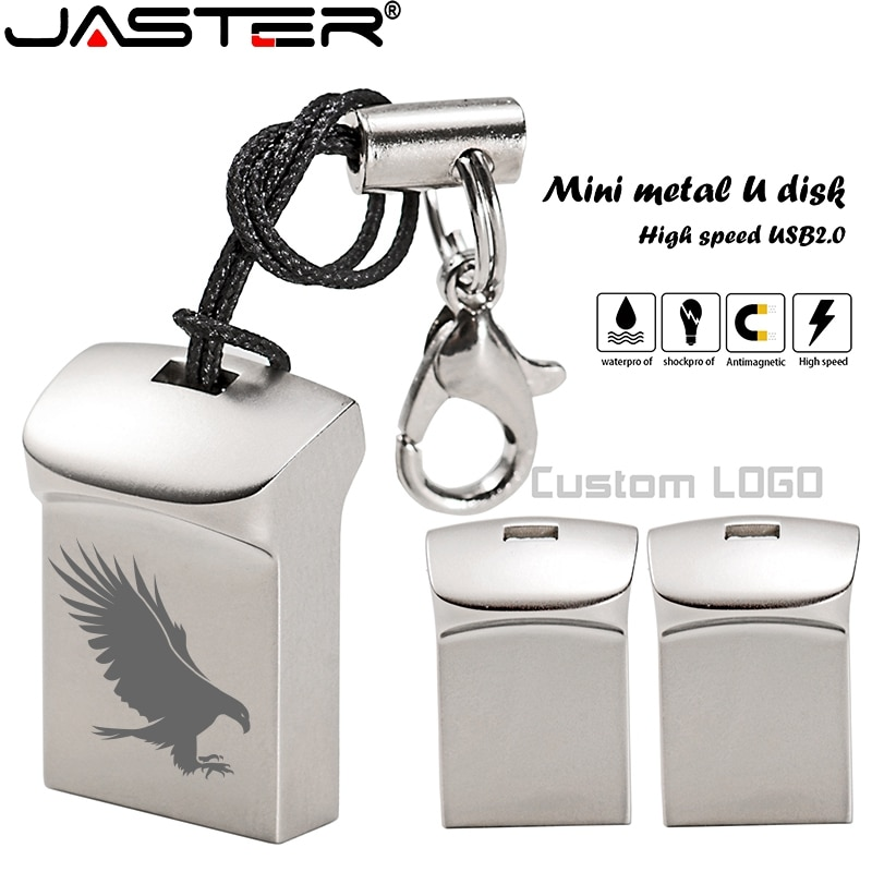 Mini Metal USB 2.0 Flash Drive 4GB 8GB 16GB 32GB 64GB Custom LOGO Pen Drives Gifts Memory Stick 100% Real Capacity U Disk